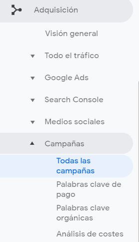 campaign url builder - vista en google analytics