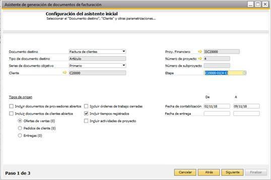 SAP Business One - Gestión de proyectos - Asistente de generación de documentos