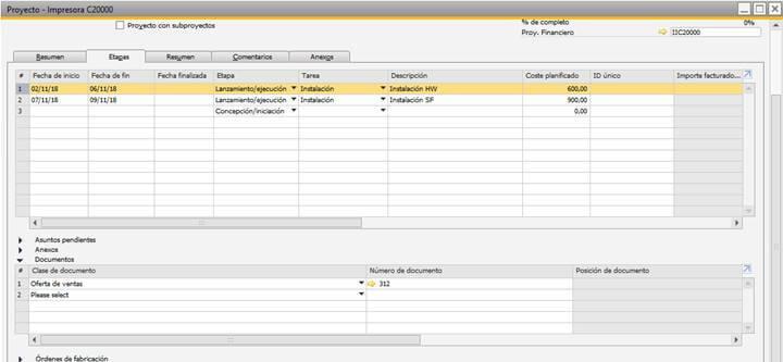 SAP Business One - Gestión de proyectos - Asociación etapa