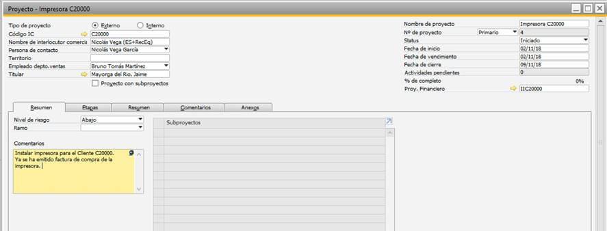 SAP Business One - Gestión de proyectos - Creación de proyecto 1