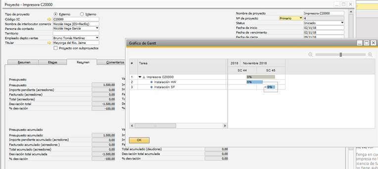 SAP Business One - Gestión de proyectos - Creación de proyecto 3