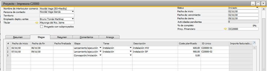 SAP Business One - Gestión de proyectos - Creación de proyectos 2
