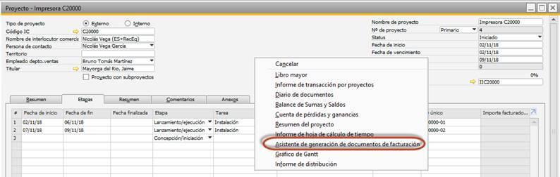 SAP Business One - Gestión de proyectos - Facturación de horas