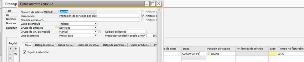 SAP Business One - Gestión de proyectos - Imputación contra artículo de servicios - Asociación con actividades y tareas