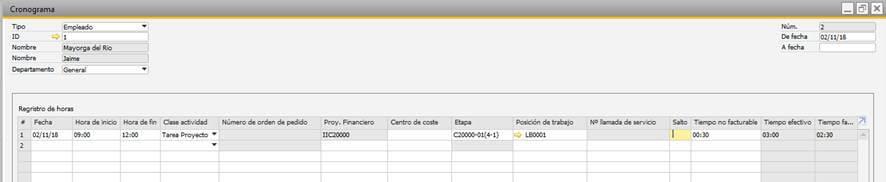 SAP Business One - Gestión de proyectos - Imputación de horas