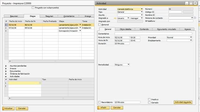 SAP Business One - Gestión de proyectos - asignacion de tareas
