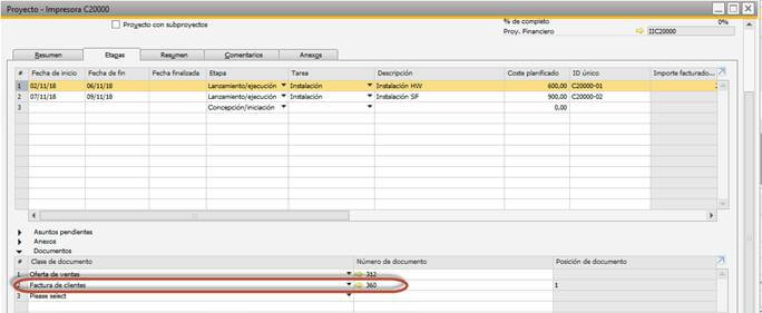 SAP Business One - Gestión de proyectos - asociación factura proyecto
